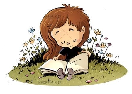 funny girl reading a book in the meadow