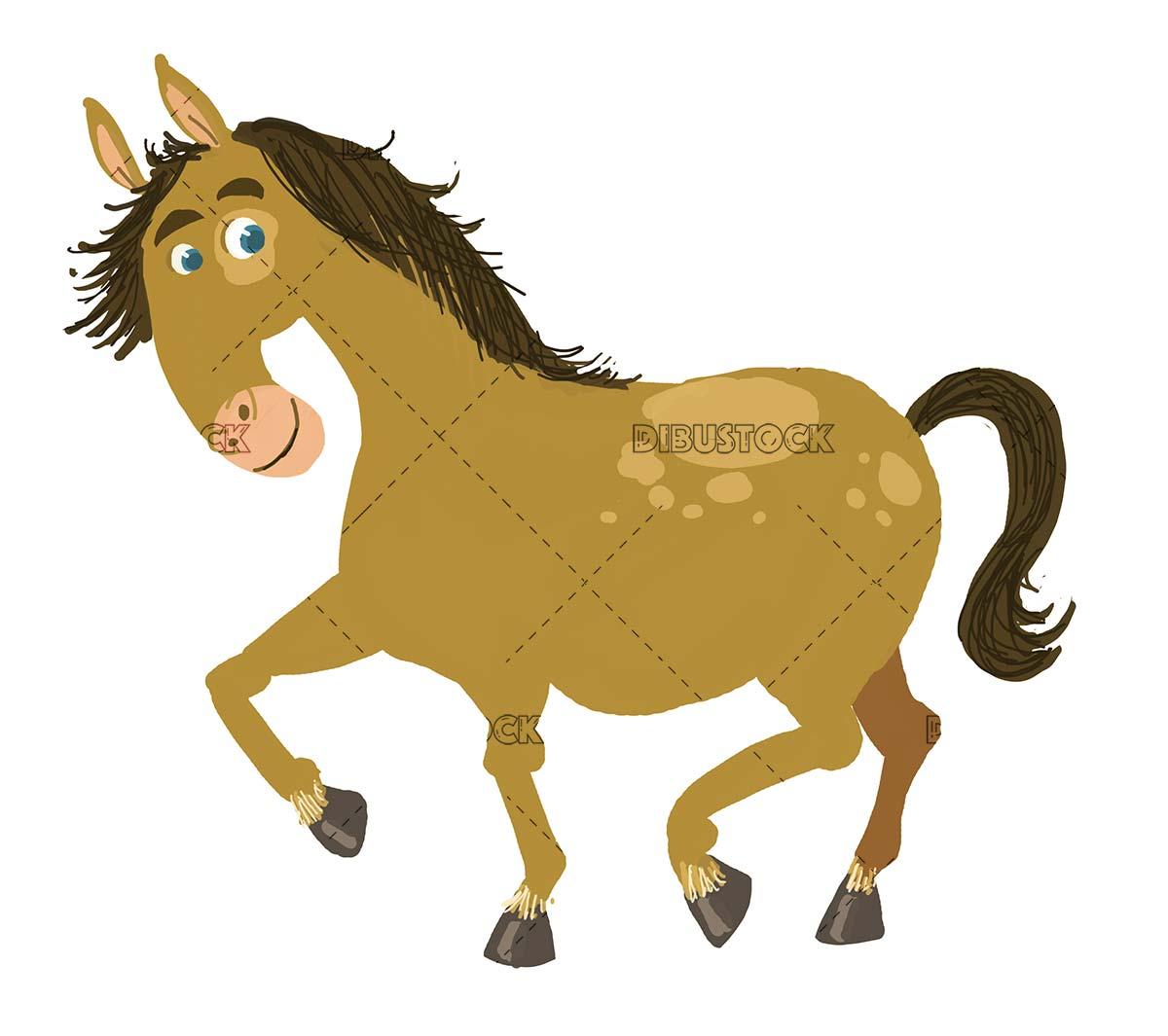 funny horse on isolated background
