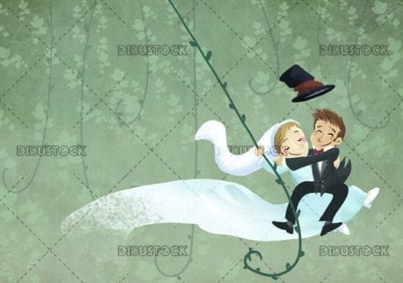 funny invitation of newlyweds hanging on a vine