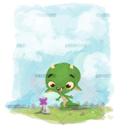 funny little dragon watching a butterfly