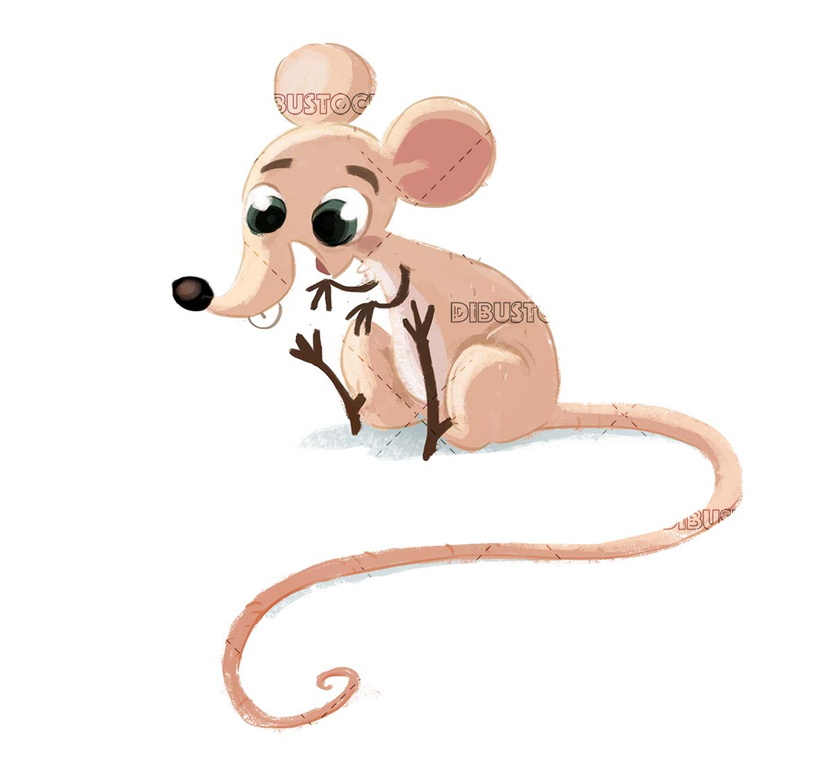 funny mouse sitting with isolated background