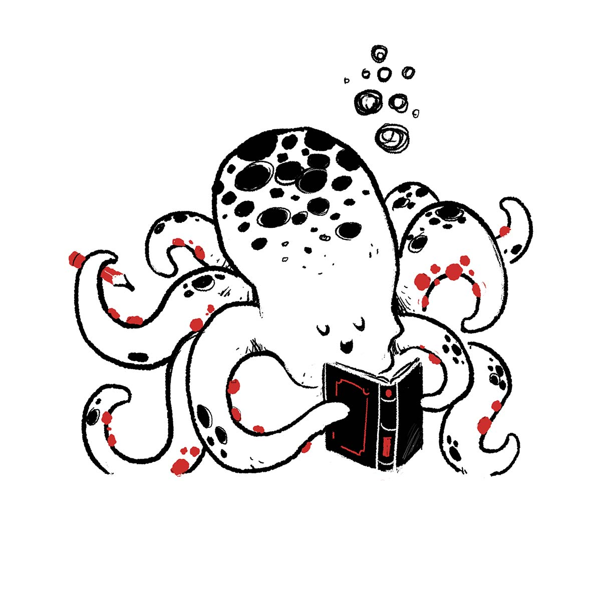 funny octopus reading a happy book
