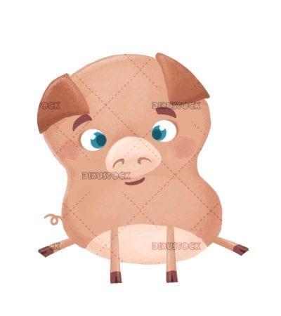 funny pig sitting