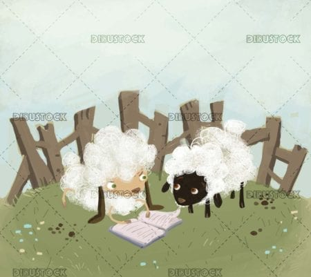 funny scene of two sheep reading a book