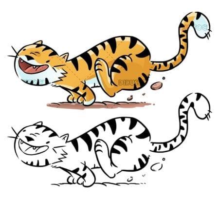 funny tiger running