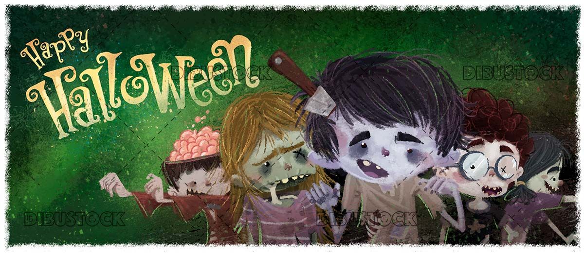 funny zombie monsters with halloween background