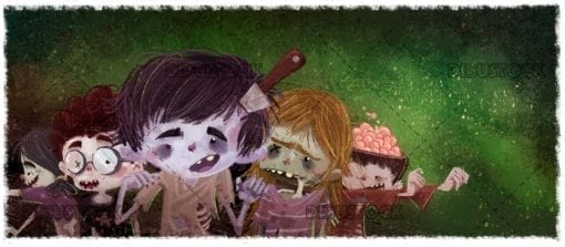 funny zombie monsters with texture background
