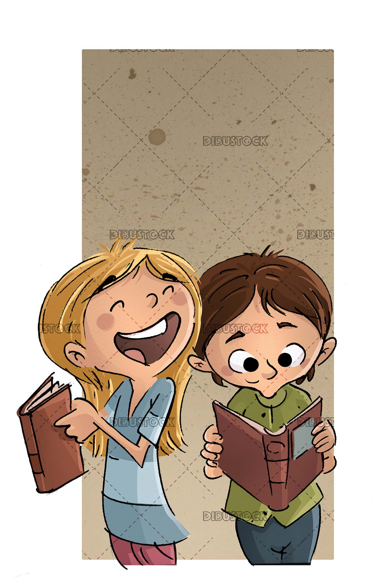 girl and boy reading and laughing