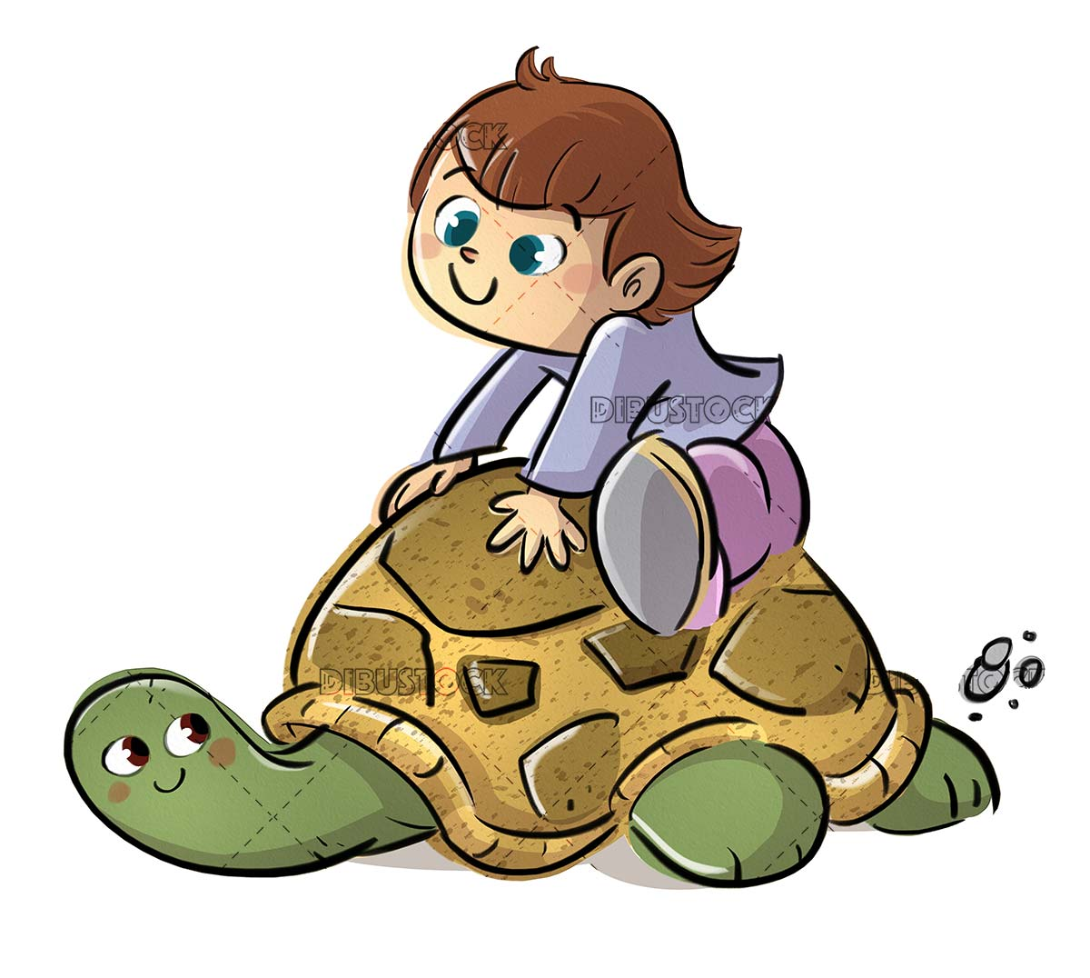 girl climbed on top of a turtle