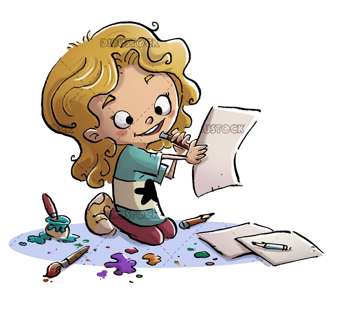 girl drawing on different papers