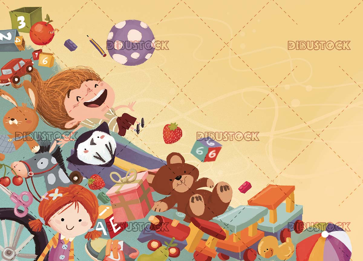 girl falling on many gifts and toys