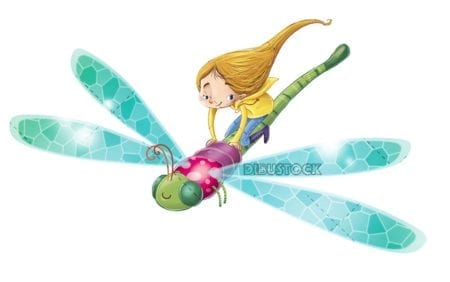 girl flying with dragonfly