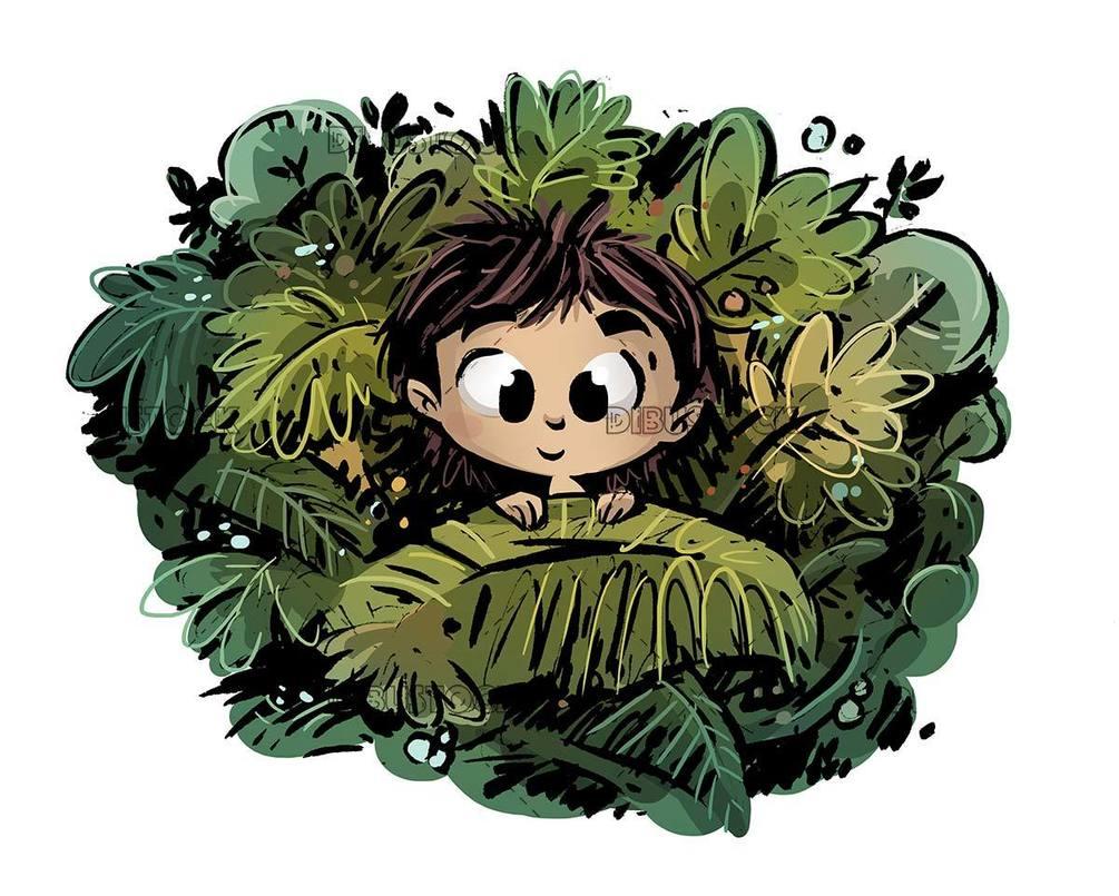 girl hidden among plants and flowers