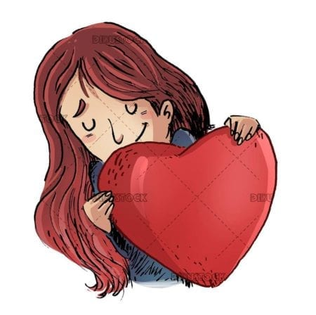 girl hugging a heart isolated