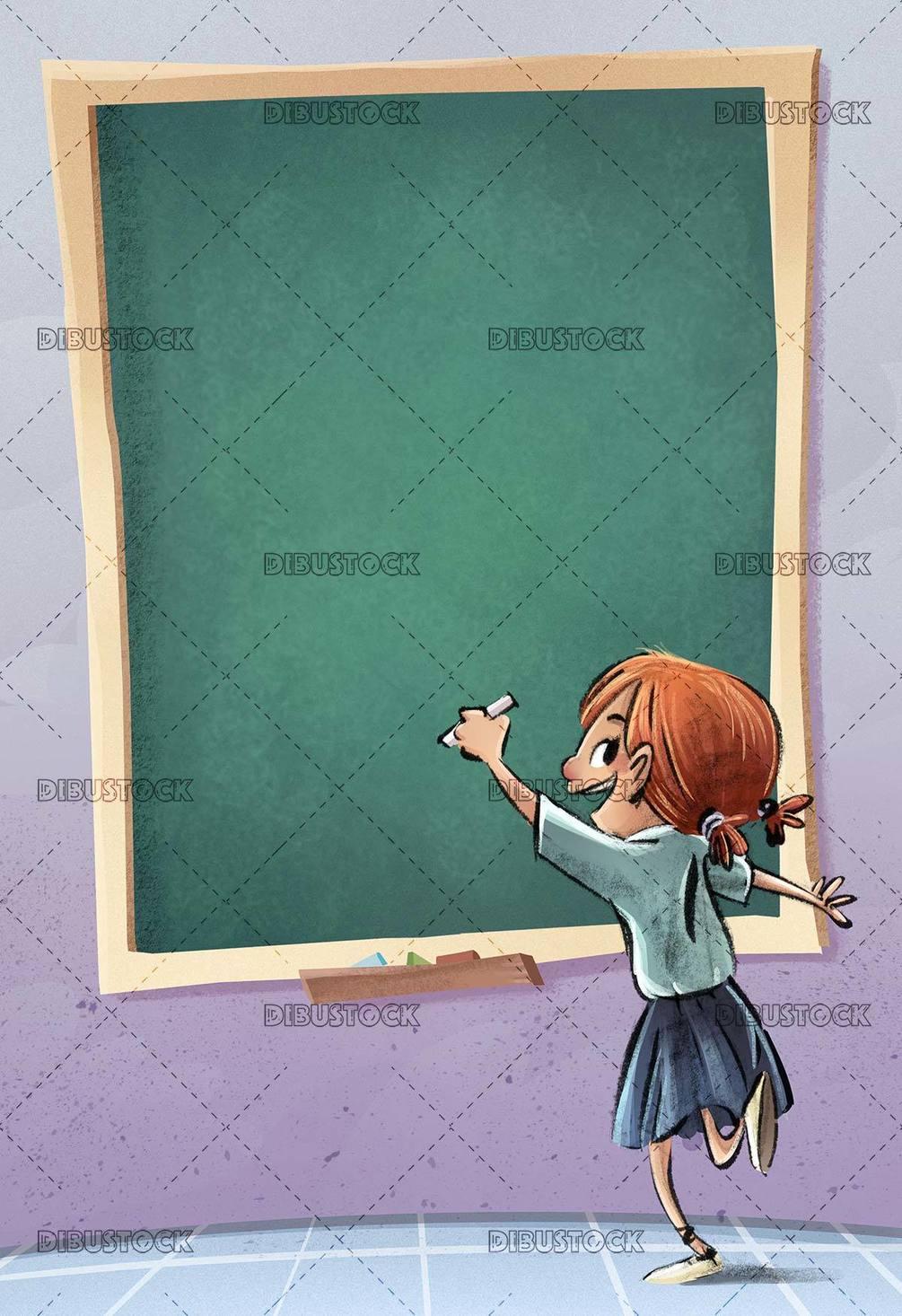 girl in class writing on the blackboard with chalk
