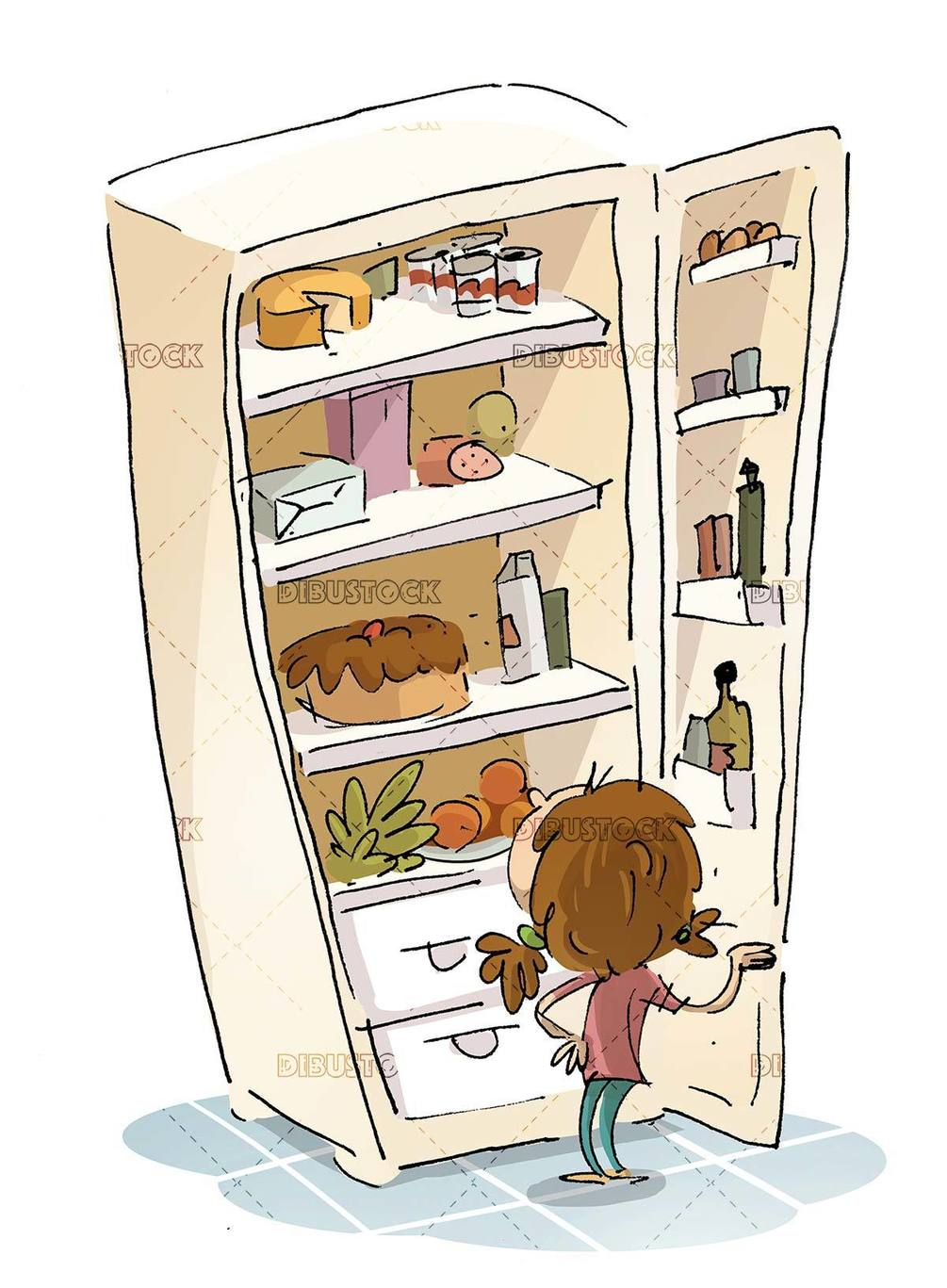 girl looking at the food in the fridge