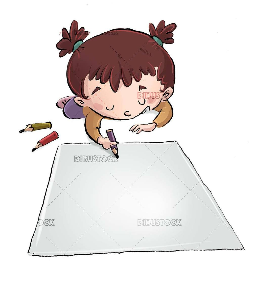 girl lying down writing a paper