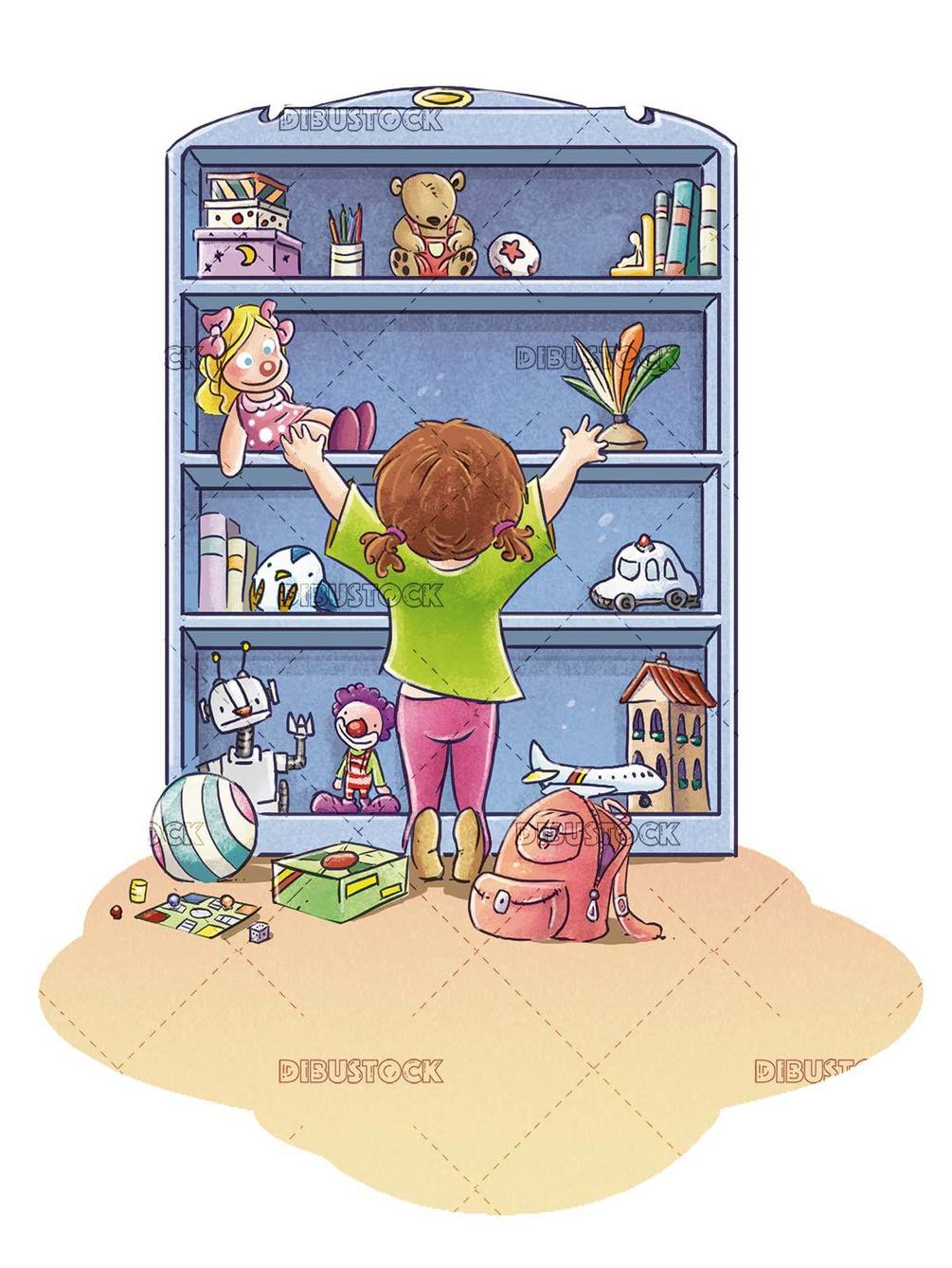 girl picking up toys from the shelf in the room