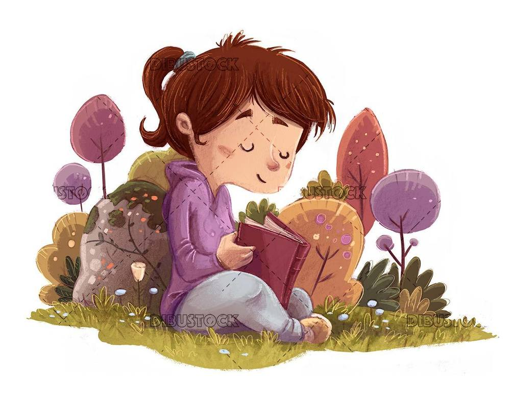 girl reading in the colorful field with isolated background
