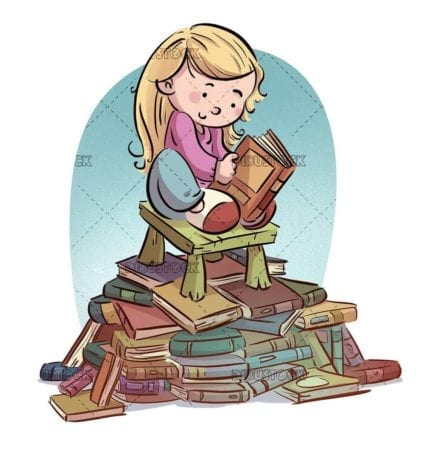 girl reading on a bench on books