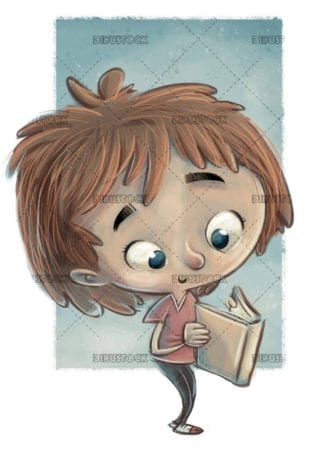 girl reading standing with texture background