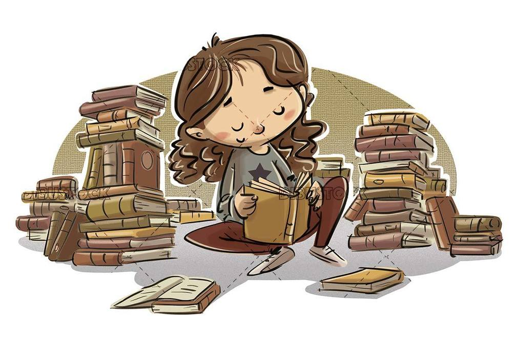 girl sitting carefully reading a lot of books