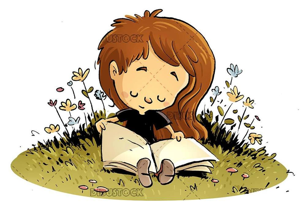 girl sitting in the field opening a book