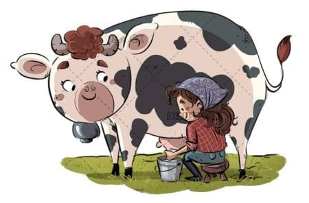girl sitting milking a cow