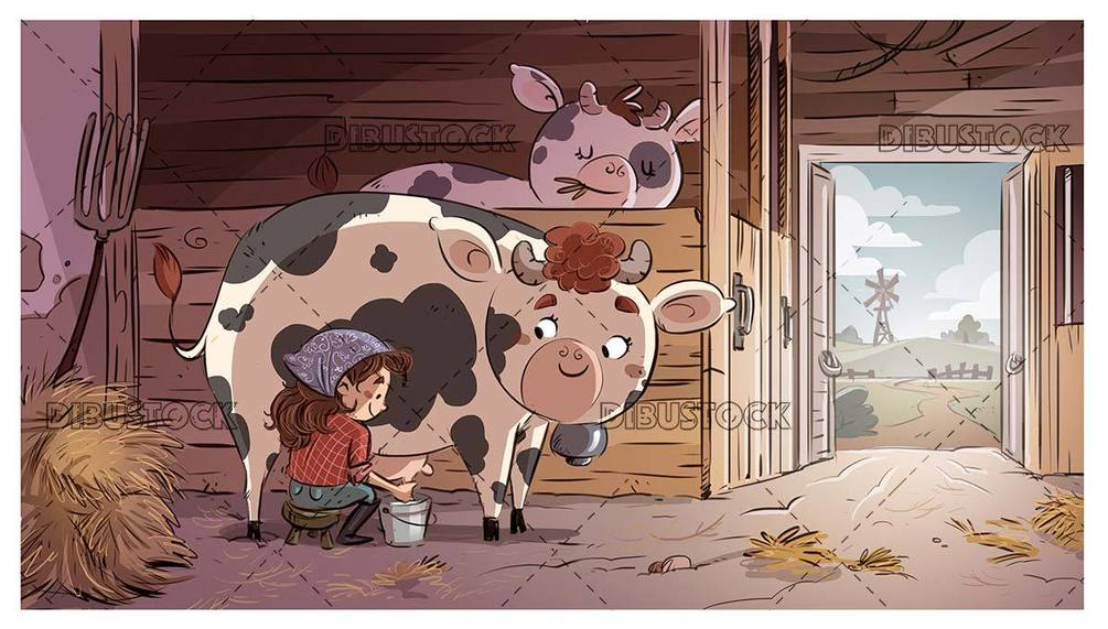 girl sitting milking a cow in a stable