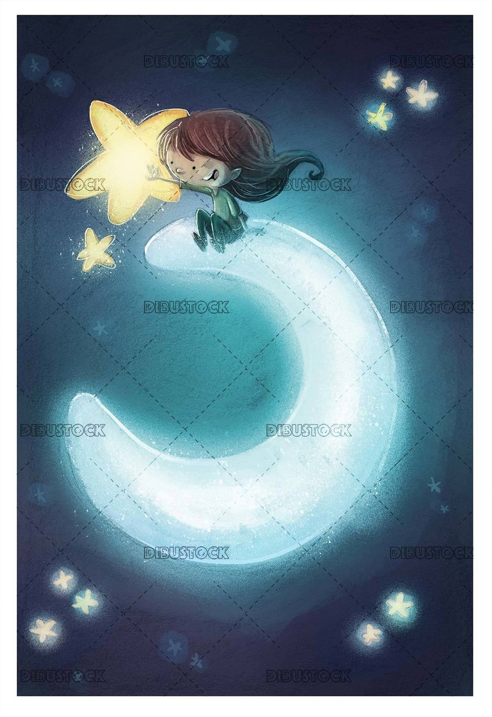girl sitting on the crescent grabbing a star