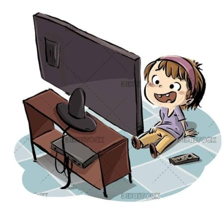 girl sitting on the floor watching television