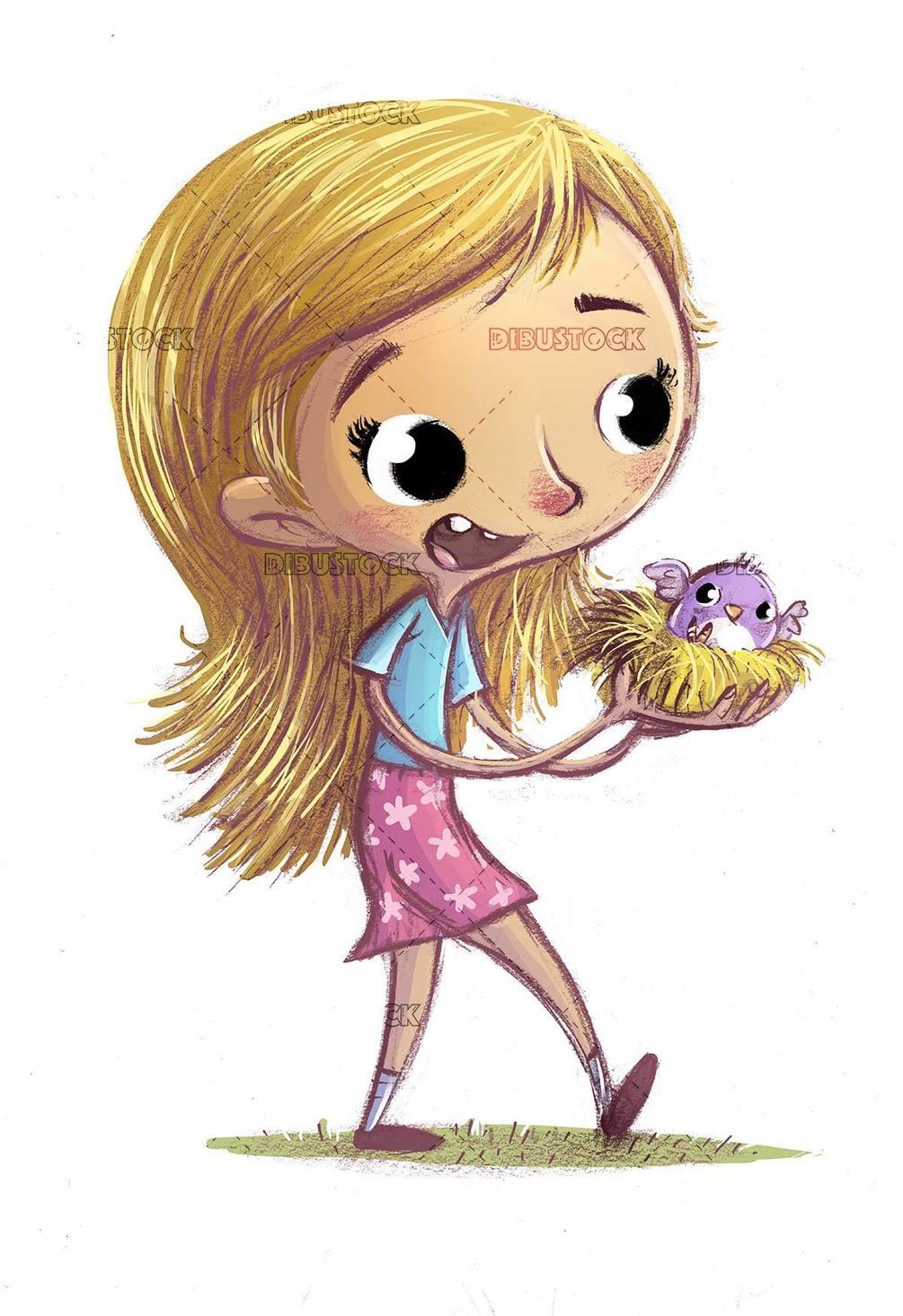girl with bird nest in hands