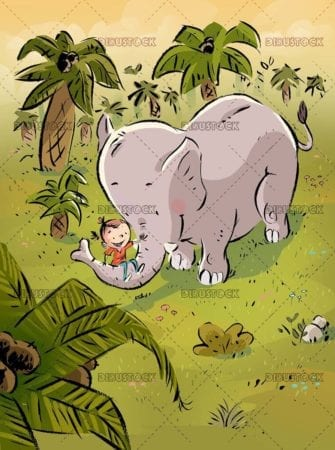 girl with elephant in the jungle