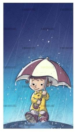 girl with umbrella and raincoat walking while it rains