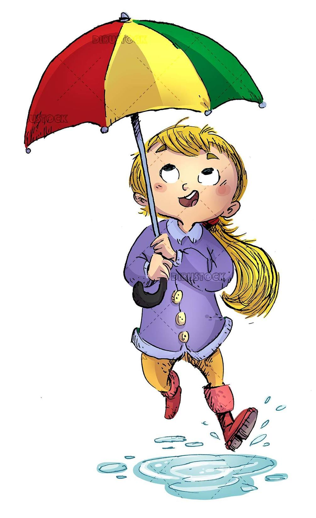 girl with umbrella stepping on a puddle of water