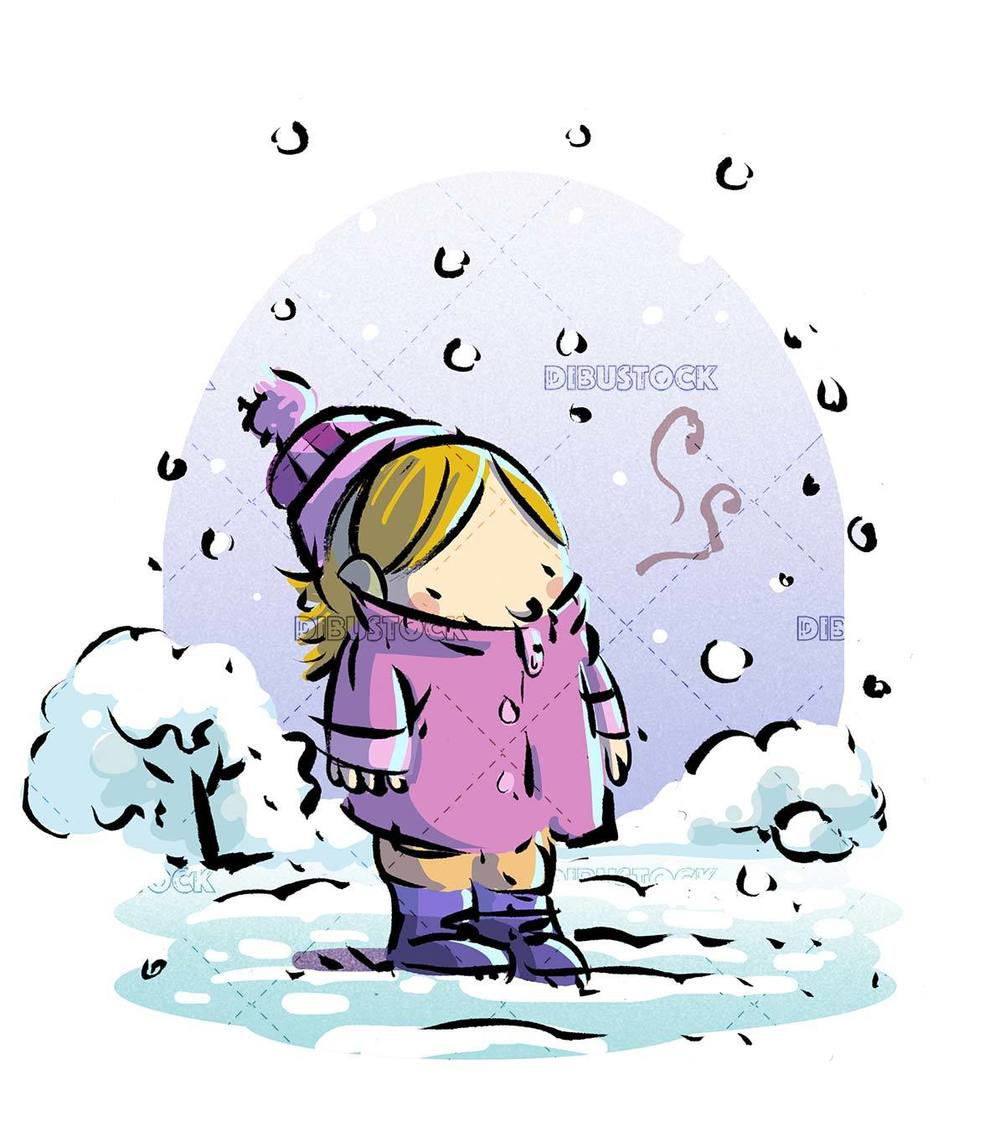 girl with winter clothes in the snow