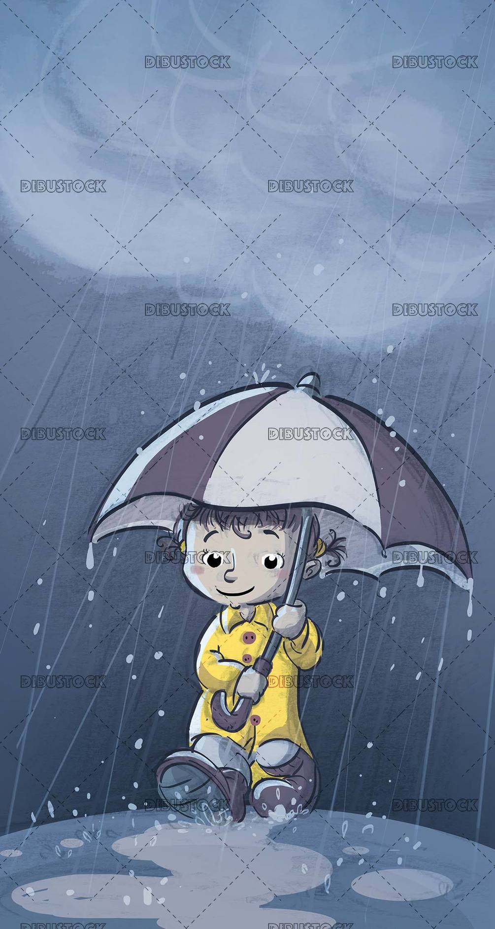 girl with yellow raincoat and umbrella while it rains