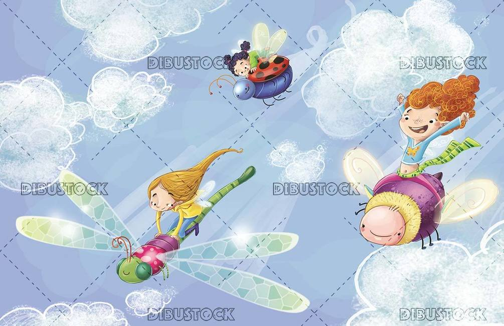 girls flying with insects across the sky