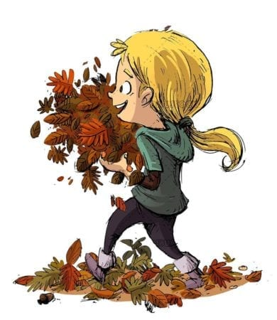 girls picking up many leaves in autumn