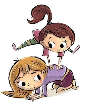 girls playing jump