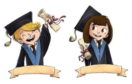 graduated children with diploma and sign