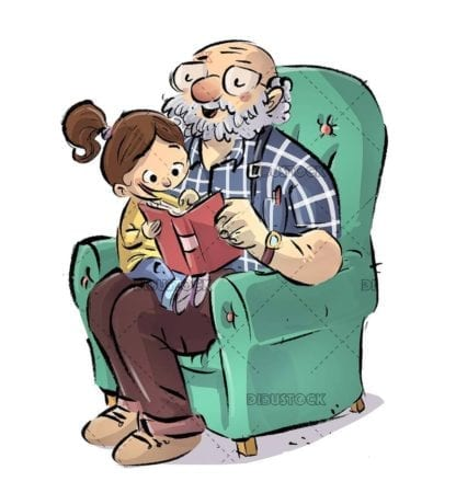 granddaughter and grandfather reading a book in the armchair