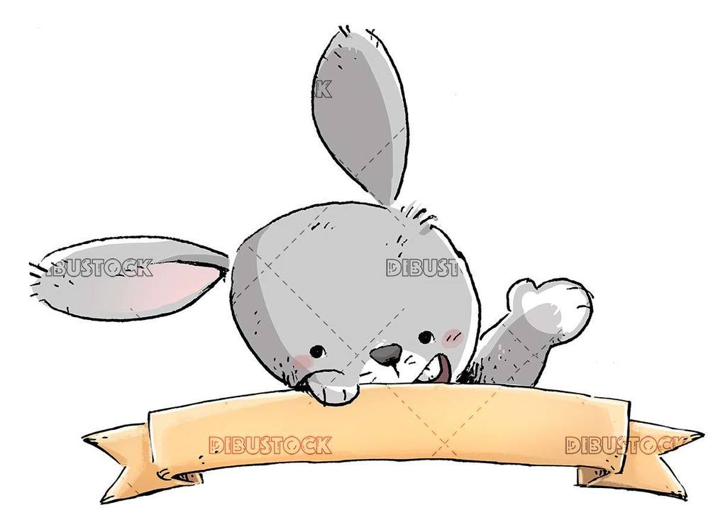 gray rabbit face behind a sign