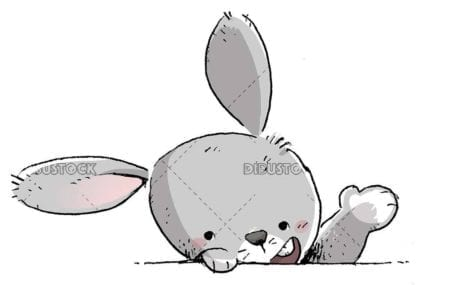 gray rabbit face waving with paw