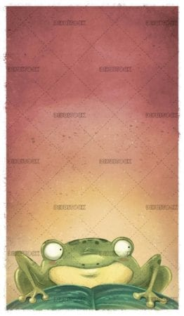 green frog on leaves and texture background