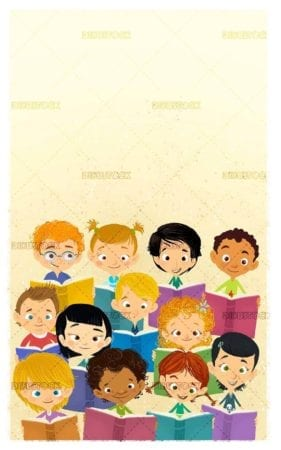 group face of happy children reading books