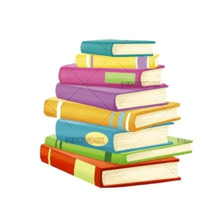 group of books of different colors