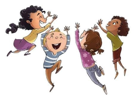 group of children of different ethnicities jumping on isolated background