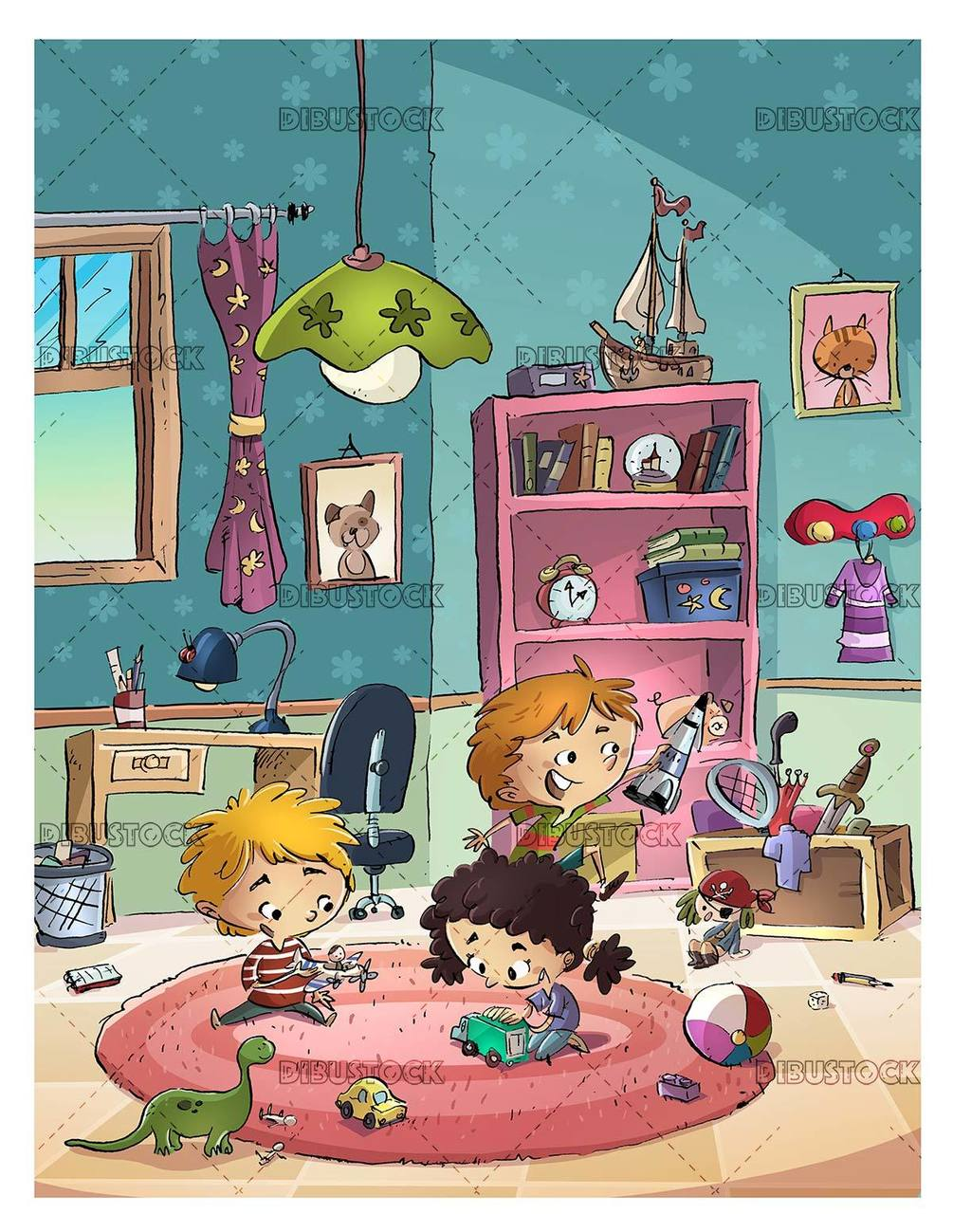 group of children playing in the room with their toys