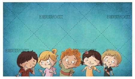 group of happy children with blue textured background